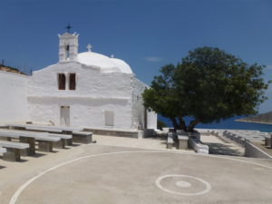 The church of Ayia Theodoti with its dance floor used on the day of the Saint's festival