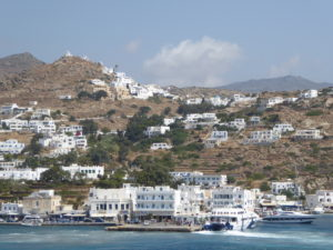 Ios - the Acropolis atop the hill above the port of Yialos