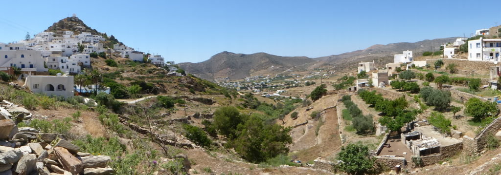 The ravine with Chora on the left and the house on the right