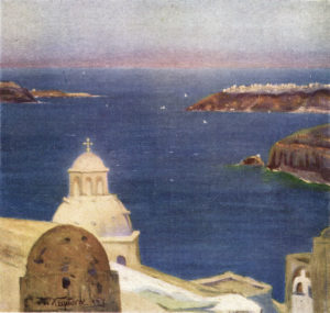 'Sea-Pool' in the Old Crater of Santorin' from the book. Painted in 1927 by Nicolas Himona.
