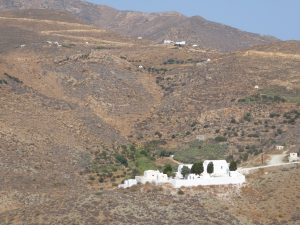 The view of the cemetery from Chora and the 'garden' behind it